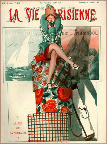 1927 La Vie Parisienne On Vacation French France Travel Advertisement Poster