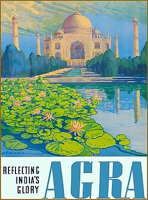 Reflecting India's Glory Agra India Vintage Travel Advertisement Art Poster