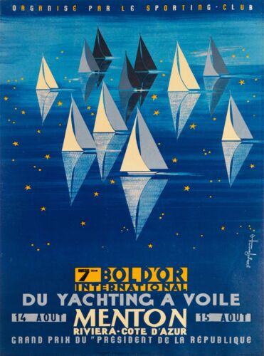 Menton France Paris Yachting French Riviera Vintage Travel Advertisement Poster