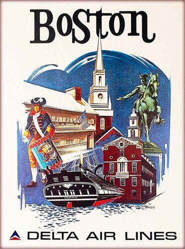 Boston Massachusetts Delta Airlines Vintage United States Travel Poster Print