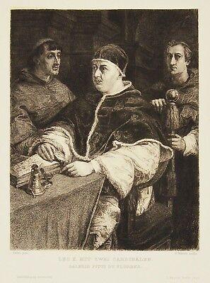 Radierung 19. Jh. Papst Leo X. Galerie Pitti Florenz Italien 38 x 28 cm