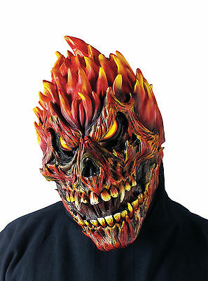 HALLOWEEN ADULT FEARSOME FACES FLAME  SKULL MASK PROP  - Flaming Skull Halloween Mask