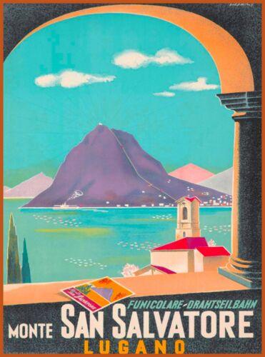 Monte San Salvatore Lugano Switzerland Vintage Travel Advertisement Art Poster