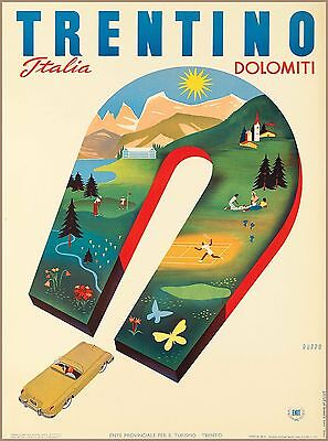 Trentino Dolomiti Italy Italia  Vintage Travel Advertisement Art Poster Print