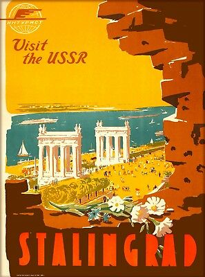 Visit the USSR Stalingrad Russia Vintage Russian Travel  Art Poster Print