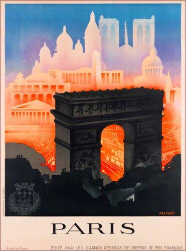 Paris Arch de Triumph France Vintage Arc de Triomph Travel Advertisement Poster