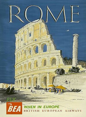 Rome Italy Colosseum, Flavian Amphitheatre fly BEA Travel Advertisement Poster