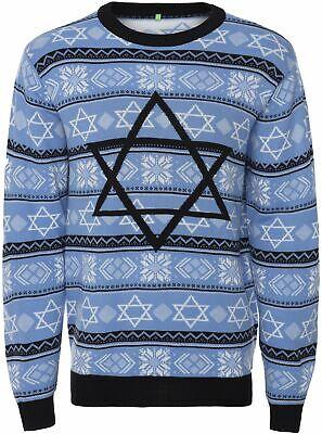 Men's Sweater Ugly Holiday Jewish Christmas, Night Before Hanukkah Star of David ()