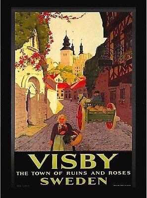 Visby Sweden Scandinavia Vintage Travel Advertisement Art Poster Print