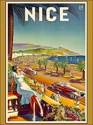 Nice France French Cars Europe European Vintage Travel Advertisement Art Poster