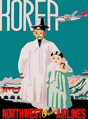 Korea - Northwest Orient Korean Asia Vintage Travel Advertisement Art Poster