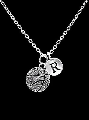 Sports Mom Charm - Choose Initial Basketball Charm Necklace Sports Mom Christmas Gift