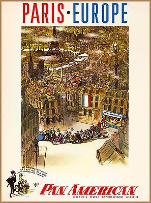 Paris Europe Pan American France Vintage French Travel Advertisement Poster