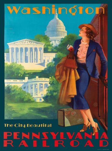 Washington D.C. Pennsylvania Vintage US Railroad Travel Advertisement Poster 5