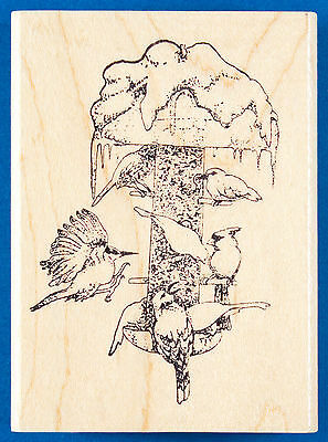 Winter Bird Feeder Rubber Stamp by Portfolio - Birds on Snow Covered Tube Feeder