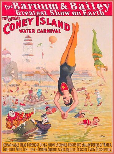 Barnum & Bailey Circus Coney Island Carnival Vintage Travel Art Poster Print
