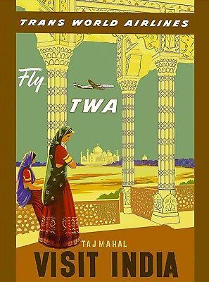 Fly TWA Visit India Taj Mahal Vintage Airline Travel Advertisement Art Poster