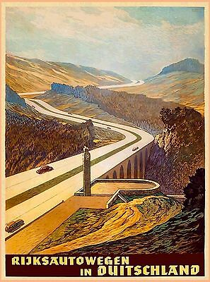 1939 Autobahn in Germany Cars Vintage German Automobile Travel Poster Print