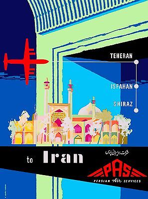 Teheran Shiraz Iran Persia Persian Arabian Vintage Travel Advertisement Poster