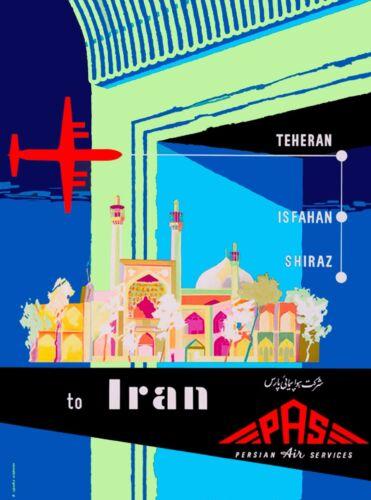 Teheran Shiraz Iran Persia Persian Arabian Vintage Travel Advertisement Poster