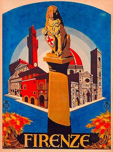 Firenze Florence Italy Vintage Travel Wall Decor Advertisement Art Poster Print