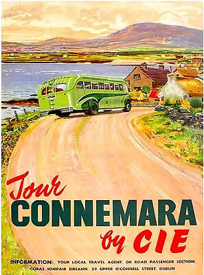 Tour Connemara By Cie Ireland United Kingdom Vintage Irish Travel Poster Print