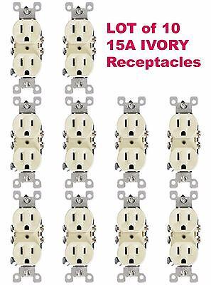 10-PK Leviton IVORY Duplex Receptacle Outlet 15A NEMA 5-15R 125V 5320 NEW NOS Duplex Ac Outlet