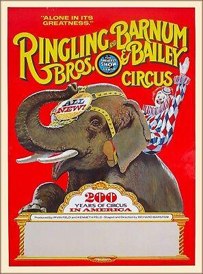 Ringling Bros Barnum & Bailey 200 Years Elephant Vintage Circus Travel Poster  Bros Barnum & Bailey Circus