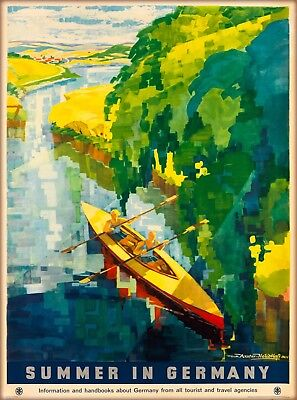 Germany German Summer Canoe Europe European Vintage Travel Advertisement Poster