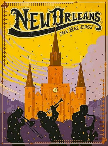 New Orleans Louisiana The Big Easy Vintage Travel Wall Decor Art Poster Print