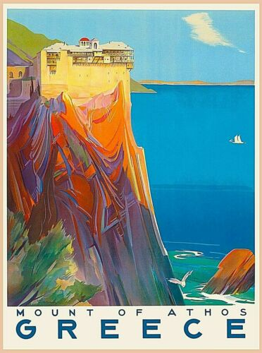 Greece Greek Mount of Athos Travel Advertisement Art Poster Print