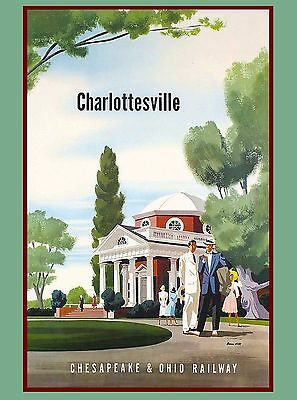 Charlottesville Virginia United States Vintage Travel Advertisement Art Poster