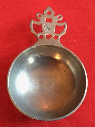 Antique 19th century Pewter Porringer Bowl with Touch Mark on Handle