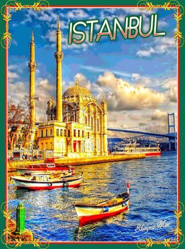 Istanbul Turkey River Turkish Boats Travel Art Advertisement Poster