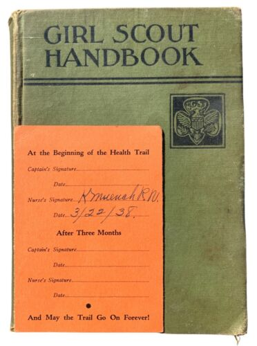 """Girl Scout Handbook 1936  plus  Signed """"Be Prepared For Health"""" Card!"""