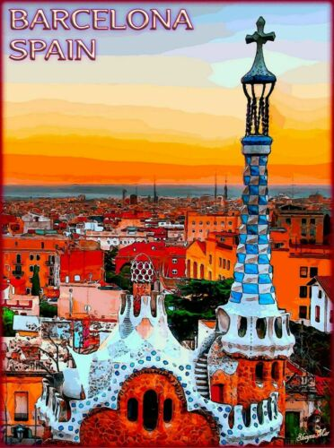 Barcelona Spain Spanish European Europe Vintage Travel Advertisement Print
