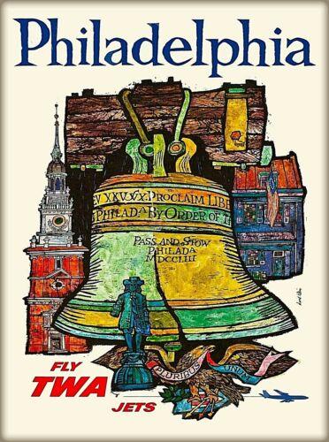 Philadelphia Pennsylvania TWA Vintage United States Travel Advertisement Poster