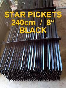 New Black Steel 2400mm (8') Star Pickets / Metal Y Fence Posts Caloundra West Caloundra Area Preview