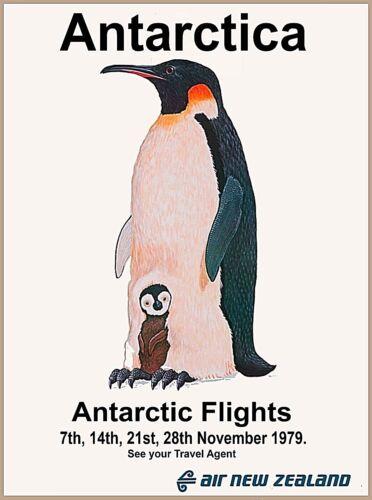 Antarctica Air New Zealand Penguin & Baby Vintage Travel Advertisement Poster