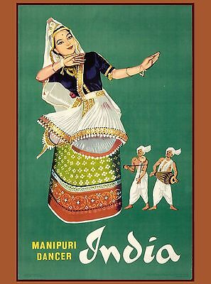 Manipuri Dancer India Indian Asia Asian Vintage Travel Advertisement Art Poster