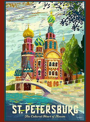 St. Petersburg Russia Russian St. Basil's Cathedral Travel Advertisement Poster