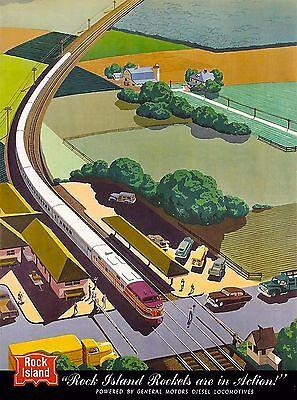 Rock Island Rockets Illinois Railroad United States Travel Poster Advertisement