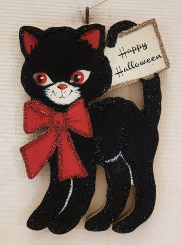 BLACK CAT w RED BOW TIE & HAPPY HALLOWEEN  Glitter HALLOWEEN ORNAMENT * Vtg Img