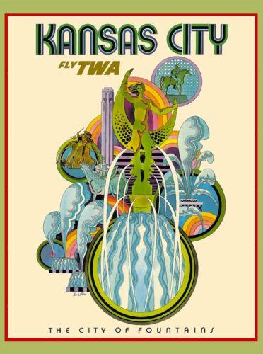 Kansas City of Fountains Missouri United States Travel Advertisement Art Poster