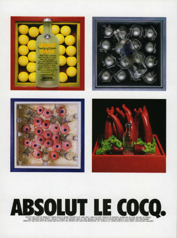 Vintage Absolute Le Cocq Vodka Print Ad from Art in America Magazine 1991