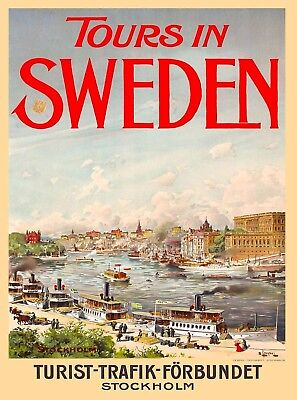 Tours in Sweden Swedish Scandinavia Vintage Travel Poster Art Advertisement