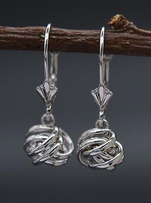 Jm35 14K Solid White Gold 22Mm Dangle Love Knot Leverback Earrings