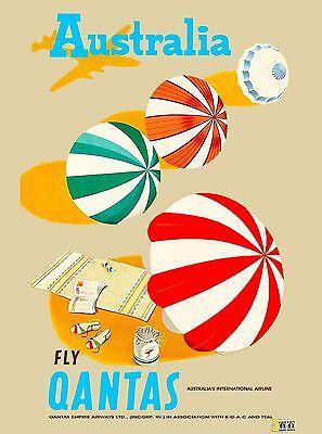 Australia Umbrellas Australian Qantas Vintage Travel Advertisement Art Poster