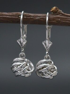 14K Solid White Gold Dangle Love knot Leverback Earrings (White Gold Love Knot Earrings)