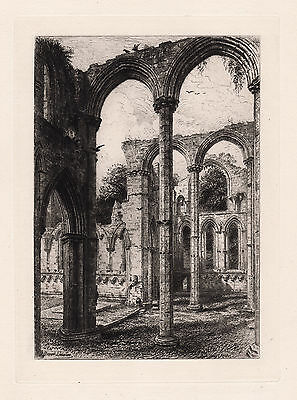 """Grand Original BRUNET DEBAINES 1800s Etching """"Fountains Abbey"""" Framed SIGNED COA"""